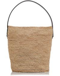 Jil Sander Leather-trimmed Medium Straw Bucket Bag - Multicolor