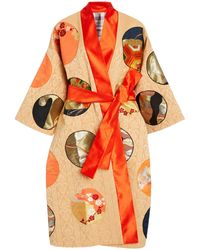Rianna + Nina One Of A Kind M'o Exclusive Printed Reversible Obi Silk Coat - Orange