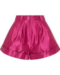 Aje. Solitude Linen-satin Shorts - Red