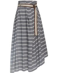 Brunello Cucinelli Striped Poplin Skirt With Monili D-ring Belt - Black