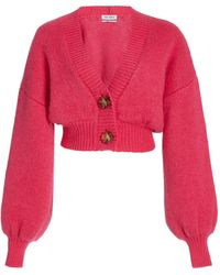The Attico Balloon-sleeve Mohair-blend Cropped Cardigan - Pink