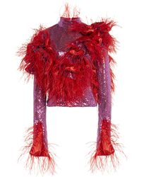 Germanier Cropped Crystal And Feather Top - Pink