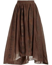 Chufy Namid Embroidered Cotton Silk Voile Maxi Skirt - Grey