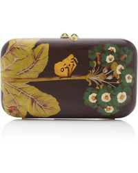 Silvia Furmanovich Marquetry Butterfly And Ladybug Clutch - Brown