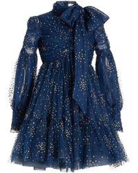 Zimmermann Rhythm Glittered Linen-silk Tie-neck Mini Dress - Blue