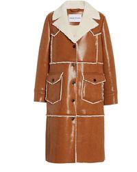 Stand Studio Adele Faux Fur Long Coat - Brown