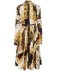 Versace Printed Plissé Crepe Belted Shirt Dress - Black