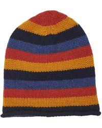 The Elder Statesman Lil' Lookout Striped Cashmere Beanie - Blue