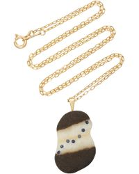 CVC Stones - M'o Exclusive: 18k Gold, Grey Beach Stone And Sapphire Drizzle Necklace - Lyst