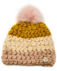Mischa Lampert Exclusive Fur-topped Colorblock Wool Beanie - Multicolour