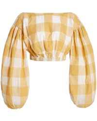 Acler Sutherland Checked Woven Crop Top - Multicolour