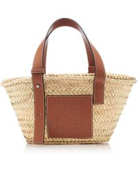 Loewe Small Leather-trimmed Straw Basket Tote - Brown