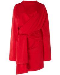 Balenciaga Dynasty Stretch-jersey Wrap Dress - Red