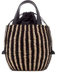 Kayu Tayla Canvas And Woven Straw Top Handle Bag - Black