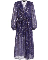 Dundas Metallic Fil Coupé Chiffon Midi Wrap Dress - Blue