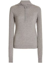 Dodo Bar Or Jorge Ribbed-knit Half-zip Top - Grey