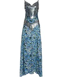 Paco Rabanne Floral-print Chainmail And Crepe Maxi Dress - Blue