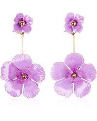 Jennifer Behr Julia Floral Drop Earrings - Purple