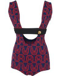 Prada Cady Jacquard Sleeveless Bodysuit - Multicolor