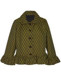 Anna Sui Ruffled Deco Dot Swing Jacket - Green