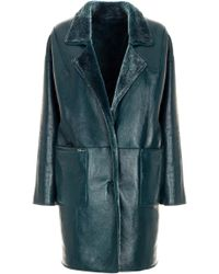 Genny - Teal Leather Jacket - Lyst