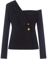 Safiyaa Bevan Scarf-lapel Asymmetrical Crepe Jacket - Black