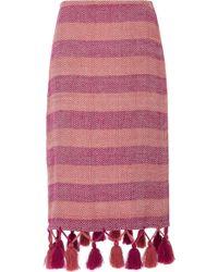 Jaline - Marga Tassel Cotton Midi Skirt - Lyst