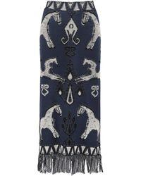 Johanna Ortiz Chauvet Jacquard-knit Cotton Maxi Skirt - Blue
