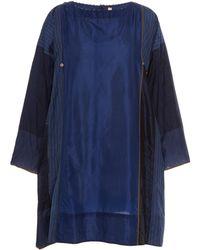 Péro Patchwork Silk Mini Dress - Blue