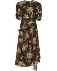 Preen By Thornton Bregazzi Ophelie Floral-print Jersey Midi Dress - Brown