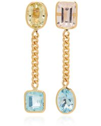 Objet-a - 18k Gold, Aquamarine And Morganite Earrings - Lyst