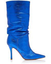 AMINA MUADDI Ida Metallic Leather Knee Boots - Blue
