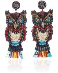 Deepa Gurnani Owl Cotton, Beaded And Gold-plated Earrings - Multicolour