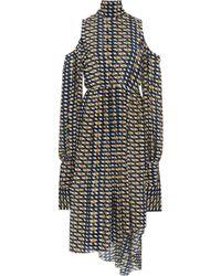 ROKH - Cold-shoulder Tie-back Midi Dress - Lyst