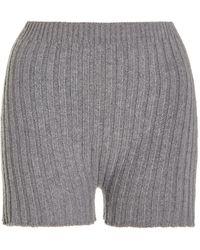 Erdem Kinsley Ribbed Wool-cashmere Shorts - Grey