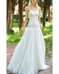 Costarellos Bridal - Strapless Lace Gown - Lyst