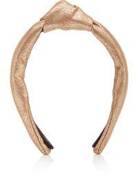 Lele Sadoughi Faux Leather Knotted Metallic Headband