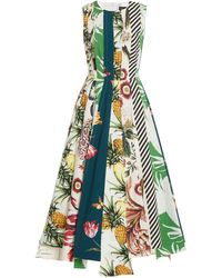 Oscar de la Renta Patchwork Printed Cotton Midi Dress - Multicolour