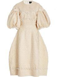Simone Rocha Beaded Jacquard Midi Dress - Natural