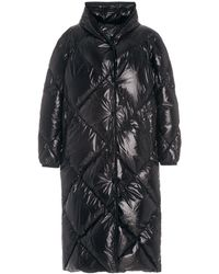 Moncler Cotonniere Long Down Hooded Puffer Coat - Black