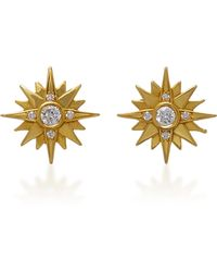 Sara Weinstock Yellow Gold White Diamond Large Starburst Earrings - Metallic
