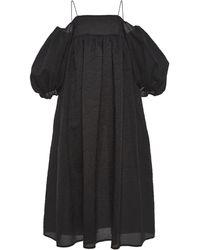 Cecilie Bahnsen Holly Cloque Midi Dress - Black