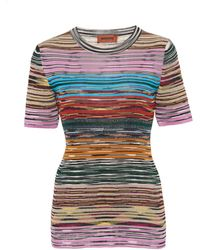 Missoni Striped Ribbed-knit Jersey T-shirt - Multicolour