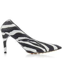 Bottega Veneta Printed Textured-leather Court Shoes - Black