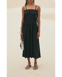 Cult Gaia Lola Ruched Linen-blend Midi Dress - Black
