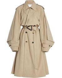 Bottega Veneta Draped-sleeve Cotton-blend Double-breasted Trench Coat - Natural