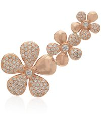 Colette Floral 18k Rose Gold And Diamond Ear Climber - Pink