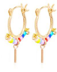 Scosha Gold-vermeil Beaded Trinket Hoop Earrings - Metallic