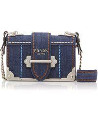 Prada - Cahier Small Denim Shoulder Bag - Lyst