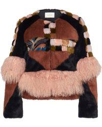 Alexis Kotto Patchwork Mongolian Fur Coat - Multicolour
